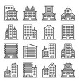 company buildings icons set on white background vector image vector image