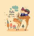 couple in love sitting on deer in autumn forest vector image vector image