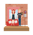 couple in the livingroom characters vector image
