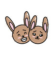 cute couple wild animal with beautiful expression vector image vector image