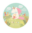 cute unicorn eating popcorn vector image vector image
