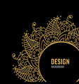 design cover with golden mandala on black vector image
