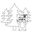 dotted shape ethnic bear animal with pine trees vector image vector image