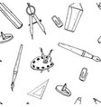 drawing and painting tools seamless pattern hand vector image vector image