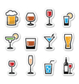 Drink alcohol beverage icons set as labels vector | Price: 1 Credit (USD $1)