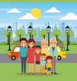 family happy in the park city street cars sky vector image