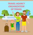 family traveling by plane social media banner vector image
