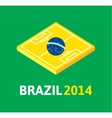 Flat green soccer field brazil flag vector image vector image