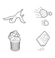 garbage icon set outline style vector image vector image