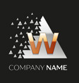 golden letter w logo in silver pixel triangle vector image vector image