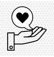 hand and heart black isolated icon design vector image vector image