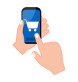 hand holding a smartphone with a cart icon vector image