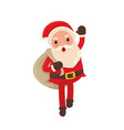happy santa claus delivering present for christmas vector image vector image