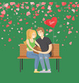 hugging man and woman on bench valentine vector image