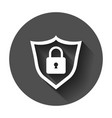 lock with shield security icon with long shadow vector image