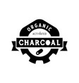 organic charcoal logo design with gear icon vector image vector image