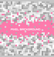 pink mosaic background with grey pixels equalizer vector image
