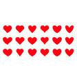 red heart love valentine romantic health flat set vector image
