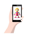robot on mobile phone screen in human hand vector image