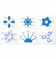 set of blue infographics elements with paper cut vector image
