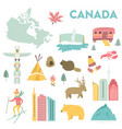 set of landmarks icons symbols of canada vector image vector image