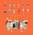set of tropical cocktails orange juice blue lagoon vector image