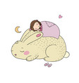sleeping cartoon girl and bunny vector image vector image