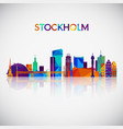 stockholm skyline silhouette in colorful vector image vector image