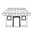 store shop building symbol in black and white vector image