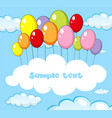 text space with balloons in sky vector image vector image