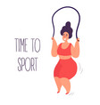 time to sport woman exercising with jumping rope vector image vector image