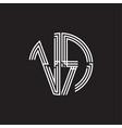 vr logo monogram triple ribbon style line design vector image vector image