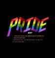 waving rainbow flag colors font lgbtq pride flag vector image