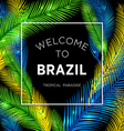 Welcome to Brazil of color palm vector image vector image