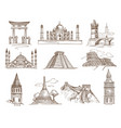 world landmarks famous buildings and architecture vector image vector image