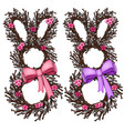 wreath of cherry tree in form of bunny with bow vector image