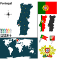 Portugal map world vector image