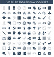 100 play icons vector image vector image