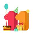 11 year greeting card birthday 11th anniversary vector image vector image