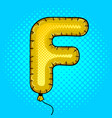 air balloon in shape of letter f pop art vector image vector image