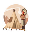 american indian cartoon in round icon vector image vector image