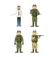 army man icon set cartoon style