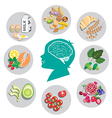 Best foods for brain health and energy vector image