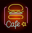cafe neon light icon realistic style vector image vector image