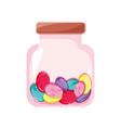 candy almonds dessert crystal jar vector image