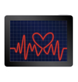 cardiogram with heart vector image vector image