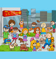 cartoon kids with dogs in the city vector image vector image