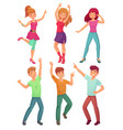 Cartoon people dance adult persons smiling and