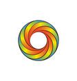 cartoon rainbow circle swirl logo design element vector image