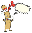 cartoon undercooked sausage with speech bubble vector image vector image